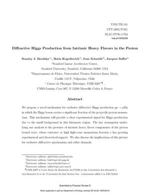 Primary view of object titled 'Diffractive Higgs Production from Intrinsic Heavy Flavors in the Proton'.