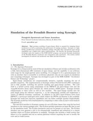 Primary view of object titled 'Simulation of the Fermilab Booster using Synergia'.