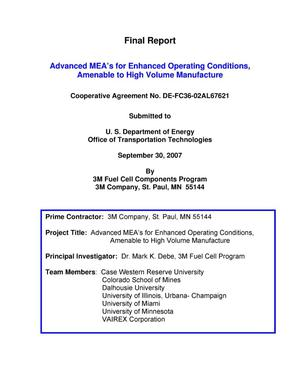 Primary view of object titled 'Final Report - Advanced MEA's for Enhanced Operating Conditions, Amenable to High Volume Manufacture'.