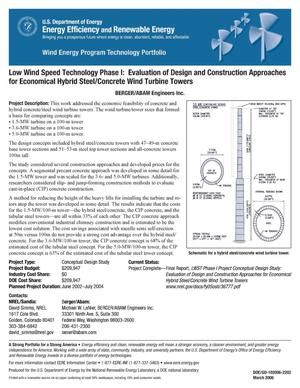 Primary view of object titled 'Low Wind Speed Technology Phase I: Evaluation of Design and Construction Approaches for Economical Hybrid Steel/Concrete Wind Turbine Towers; BERGER/ABAM Engineers Inc.'.