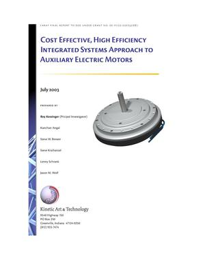 Primary view of object titled 'Cost Effective, High Efficiency Integrated Systems Approach To Auxiliary Electric Motors'.