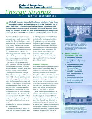 Primary view of object titled 'Federal Agencies: Setting an Example with Energy Savings for the 21st Century'.