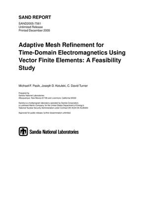 Primary view of object titled 'Adaptive mesh refinement for time-domain electromagnetics using vector finite elements :a feasibility study.'.