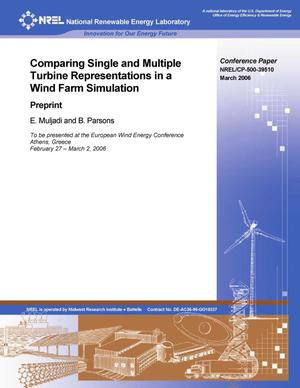 Primary view of object titled 'Comparing Single and Multiple Turbine Representations in a Wind Farm Simulation: Preprint'.