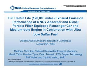 Primary view of object titled 'Full Useful Life (120,000 miles) Exhaust Emission Performance of a NOx Adsorber and Diesel Particle Filter Equipped Passenger Car and Medium-duty Engine in Conjunction with Ultra Low Sulfur Fuel (Presentation)'.