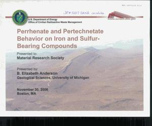 Primary view of object titled 'Perrhenate and Pertechnetate Behavior on Iron and Sulfiur-Bearing Compounds Presentation'.