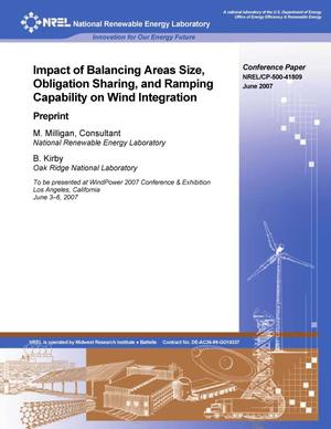 Primary view of object titled 'Impact of Balancing Areas Size, Obligation Sharing, and Ramping Capability on Wind Integration: Preprint'.