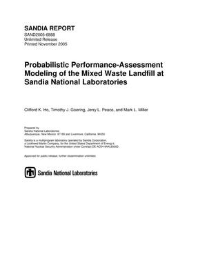 Primary view of object titled 'Probabilistic performance-assessment modeling of the mixed waste landfill at Sandia National Laboratories.'.
