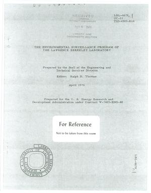 Primary view of object titled 'The Environmental Surveillance Program of the Lawrence BerkeleyLaboratory'.