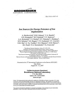 Primary view of object titled 'ION SOURCES FOR ENERGY EXTREMES OF ION IMPLANTATION.'.