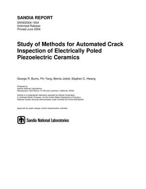 Primary view of object titled 'Study of methods for automated crack inspection of electrically poled piezoelectric ceramics.'.