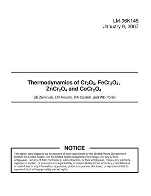 Primary view of object titled 'Thermodynamics of Cr2O3, FeCr2O4, ZnCr2O4 and CoCr2O4'.