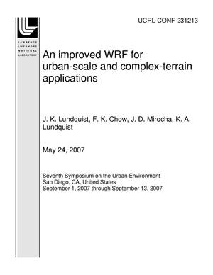 Primary view of object titled 'An improved WRF for urban-scale and complex-terrain applications'.