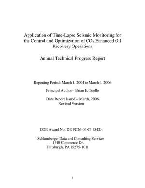 Primary view of object titled 'Application of Time-Lapse Seismic Monitoring for the Control and Optimization of CO2 Enhanced Oil Recovery Operations'.