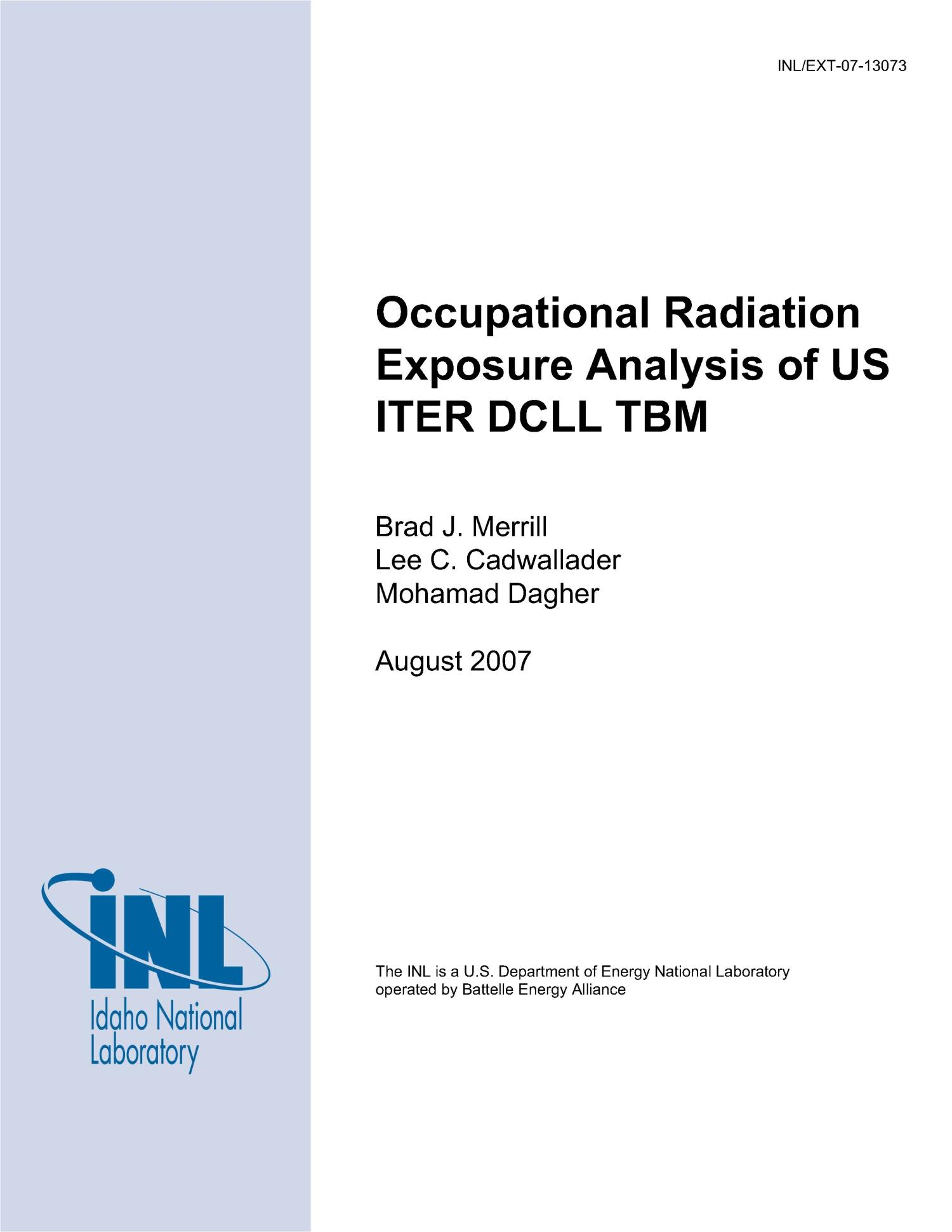 Occupational Radiation Exposure Analysis of US ITER DCLL TBM                                                                                                      [Sequence #]: 1 of 39
