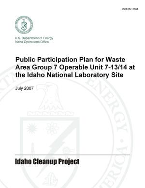 Primary view of object titled 'Public Participation Plan for Waste Area Group 7 Operable Unit 7-13/14 at the Idaho National Laboratory Site'.
