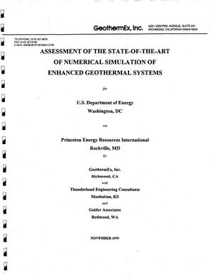 Primary view of object titled 'Assessment of the state-of-the-art of numerical simulation of enhanced geothermal systems'.