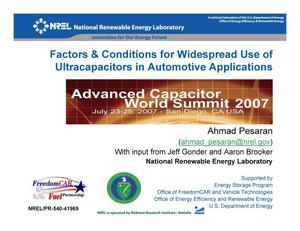 Primary view of object titled 'Factors & Conditions for Widespread Use of Ultracapacitors in Automotive Applications (Presentation)'.