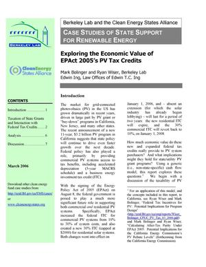 Thumbnail Image Of Item Number 1 In Exploring The Economic Value Epact 2005 S