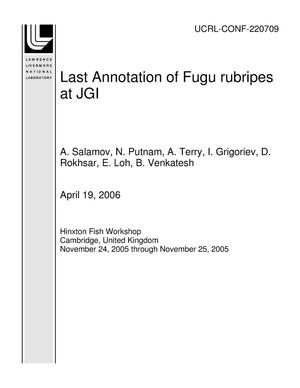 Primary view of object titled 'Last Annotation of Fugu rubripes at JGI'.