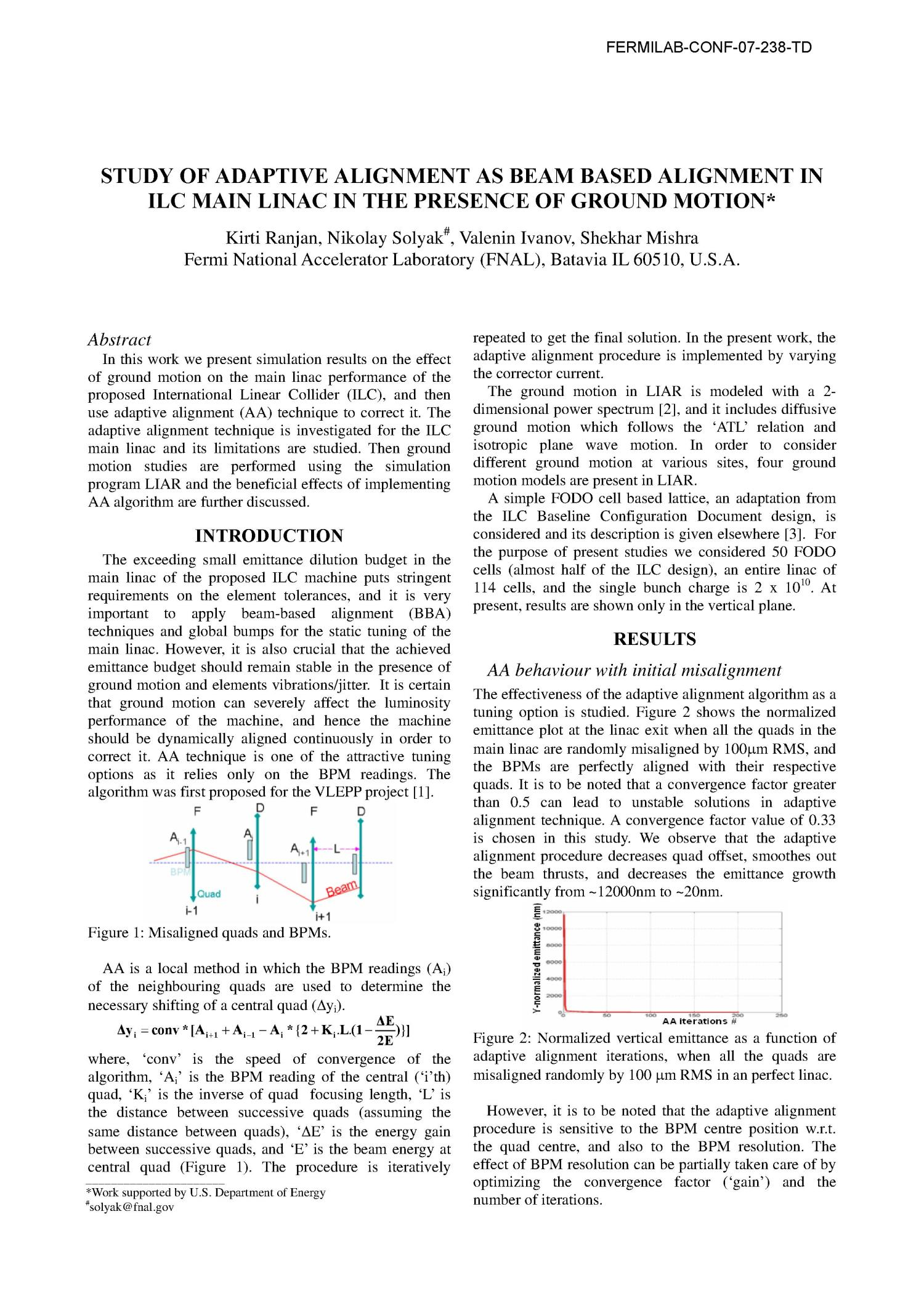 Study of adaptive alignment as beam based alignment in ILC Main Linac in the presence of ground motion                                                                                                      [Sequence #]: 1 of 3