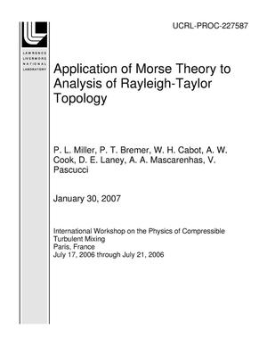 Primary view of object titled 'Application of Morse Theory to Analysis of Rayleigh-Taylor Topology'.