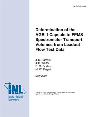 Primary view of object titled 'DETERMINATION OF THE AGR-1 CAPSULE TO FPMS SPECTROMETER TRANSPORT VOLUMES FROM LEADOUT FLOW TEST DATA'.