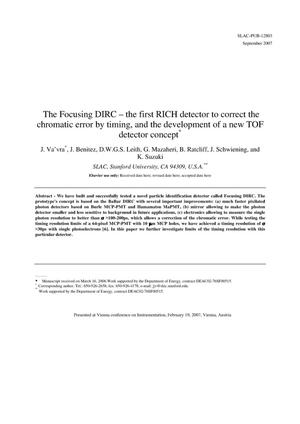 Primary view of object titled 'The Focusing DIRC - the First RICH Detector toCorrect the Chromatic Error by Timing, and the Development of a New TOFDetector Concept'.