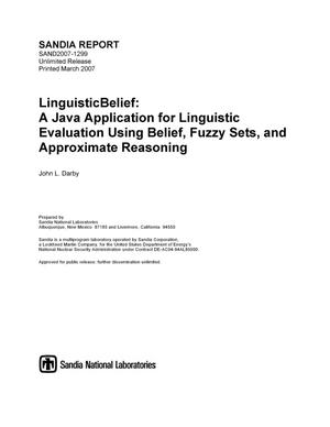 Primary view of object titled 'LinguisticBelief: a java application for linguistic evaluation using belief, fuzzy sets, and approximate reasoning.'.