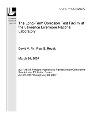 Primary view of object titled 'The Long-Term Corrosion Test Facility at the Lawrence Livermore National Laboratory'.