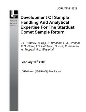 Primary view of object titled 'Development of Sample Handling and Analytical Expertise For the Stardust Comet Sample Return'.