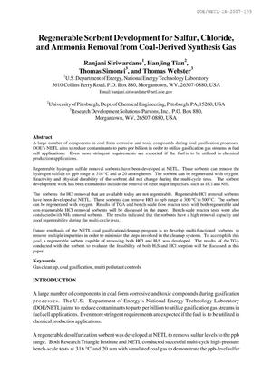 Primary view of object titled 'Regenerable Sorbent Development for Sulfur, Chloride and Ammonia Removal from Coal-Derived Synthesis Gas'.