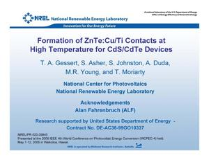 Primary view of object titled 'Formation of ZnTe:Cu/Ti Contacts at High Temperature for CdS/CdTe Devices (Presentation)'.