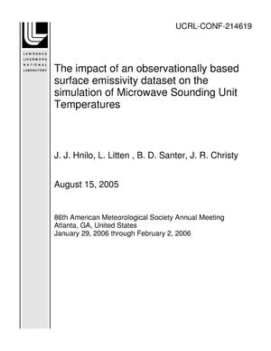 Primary view of object titled 'The impact of an observationally based surface emissivity dataset on the simulation of Microwave Sounding Unit Temperatures'.