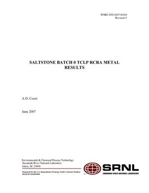 Primary view of object titled 'SALTSTONE BATCH 0 TCLP RCRA METAL RESULTS'.