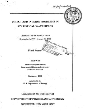 Primary view of object titled 'Direct and Inverse Problems in Statistical Wavefields'.