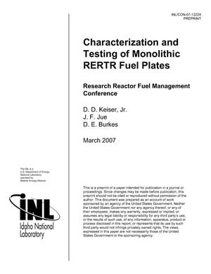Primary view of object titled 'Characterization and Testing of Monolithic RERTR Fuel Plates'.
