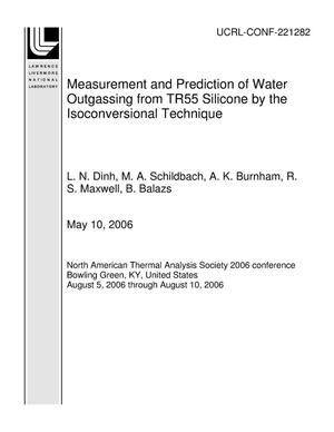 Primary view of object titled 'Measurement and Prediction of Water Outgassing from TR55 Silicone by the Isoconversional Technique'.