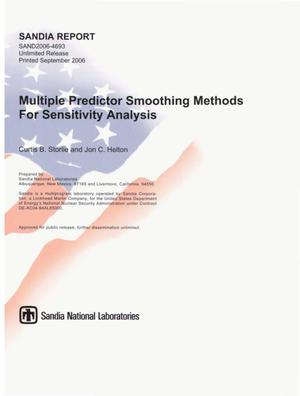 Primary view of object titled 'Multiple predictor smoothing methods for sensitivity analysis.'.