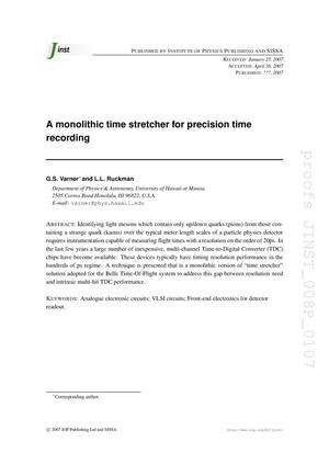 Primary view of object titled 'A monolithic time stretcher for precision time recording'.