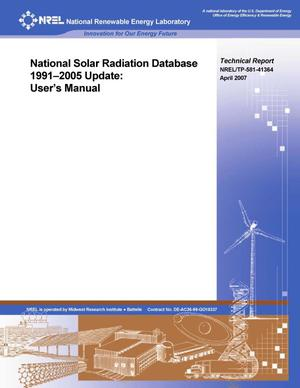 Primary view of object titled 'National Solar Radiation Database 1991-2005 Update: User's Manual'.