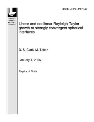 Primary view of object titled 'Linear and nonlinear Rayleigh-Taylor growth at strongly convergent spherical interfaces'.
