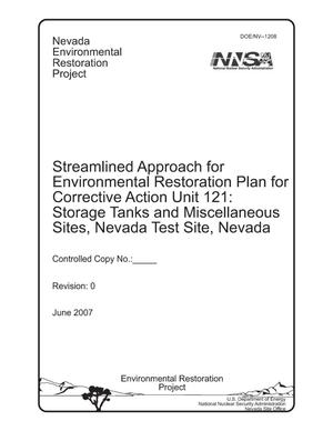 Primary view of object titled 'Streamlined Approach for Environmental Restoration Plan for Corrective Action Unit 121: Storage Tanks and Miscellaneous Sites, Nevada Test Site, Nevada'.