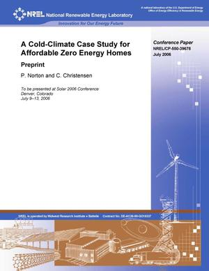 Primary view of object titled 'Cold-Climate Case Study for Affordable Zero Energy Homes: Preprint'.