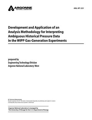 Primary view of object titled 'Development and application of an analysis methodology for interpreting ambiguous historical pressure data in the WIPP gas-generation experiments.'.