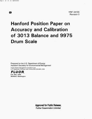 Primary view of object titled 'HANFORD POSITION PAPER ON ACCURACY & CALIBRATION OF 3013 BALANCE & 9975 DRUM SCALE'.