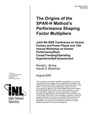 Primary view of object titled 'The Origins of the SPAR-H Method's Performance Shaping Factor Multipliers'.