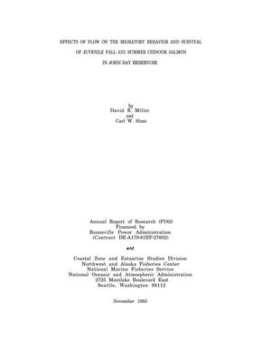 Primary view of object titled 'Effects of Flow on the Migratory Behavior and Survival of Juvenile Fall and Summer Chinook Salmon in John Day Reservior, 1982 Annual Report of Research.'.