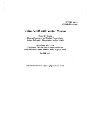 Primary view of object titled 'Chiral QHD with Vector Mesons'.