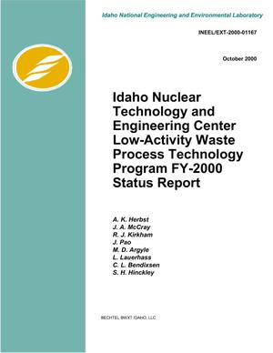 Primary view of object titled 'Idaho Nuclear Technology and Engineering Center Low-Activity Waste Process Technology Program FY-2000 Status Report'.